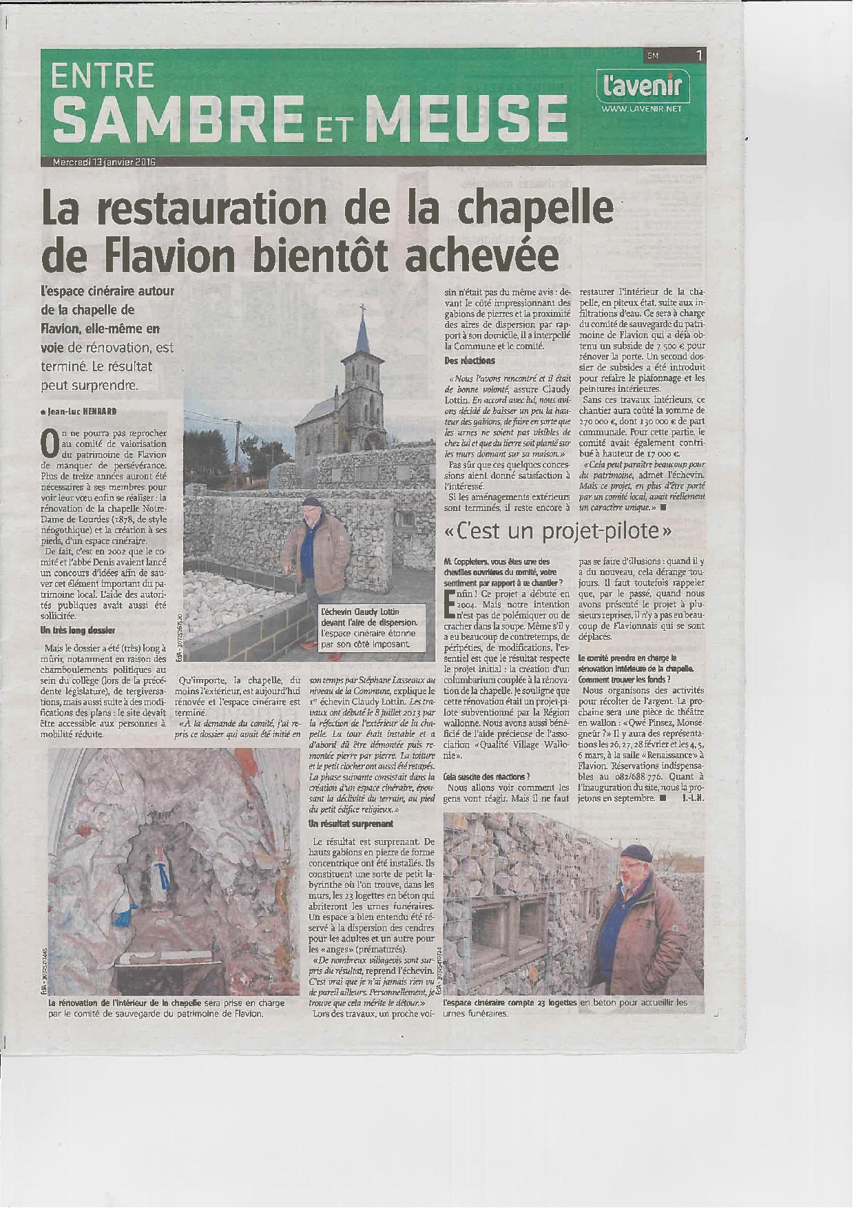 Article VA 13/01/2016 chapelle et columbarium